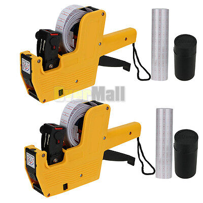 2x Yellow MX-5500 8 Digits Price Tag Gun + 5000 White w/ Red lines labels +1 Ink