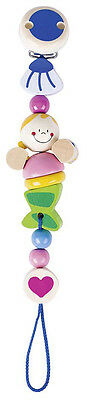 Heimess MERMAID CLIP ON DUMMY/SOOTHER/PACIFIER CHAIN Wooden Baby/Child Toy BN