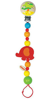 Heimess ELEPHANTS CLIP ON DUMMY/SOOTHER/PACIFIER CHAIN Wooden Baby/Child Toy BN