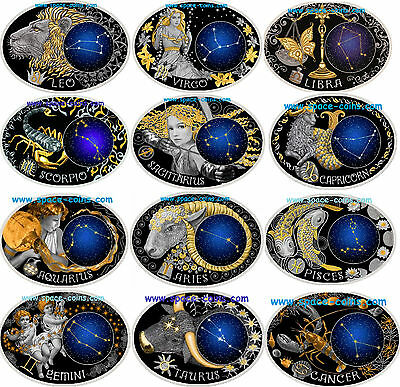 Macedonia 2014, Signs of the Zodiac series! 10 Denars Silver Astronomy Astrology