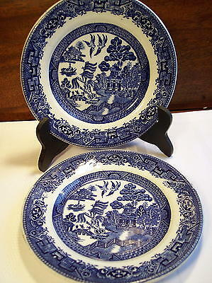 2 old Blue Willow Dessert Plates Wood & Sons - England