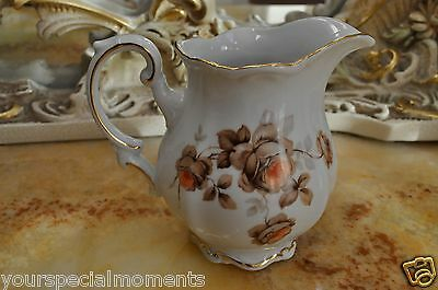 Vintage Mitterteich Bavaria Germany orange flowers Creamer