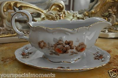 Vintage Mitterteich Bavaria Germany orange flowers Saucer for salad dressing