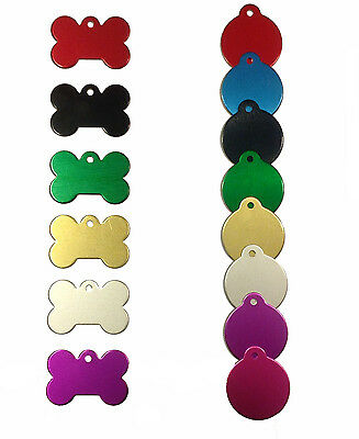 Custom Engraved Pet ID Tags for Dogs and Cats / Bone Shape and Round Shape
