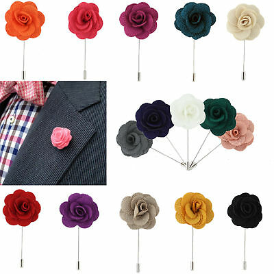 Mens Lapel Flower Suit Brooch Pin New Fashion Wedding Corsage Boutonniere Stick