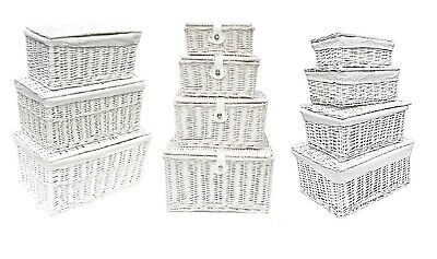 Shabby Chic White Wicker Baby Nursery Storage Basket Chest Trunk Toy Blanket Box
