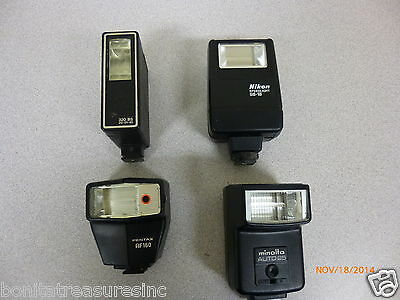 Lot of 4 electronic flash accessories Nikon Pentax Minolta parts or repair AS IS
