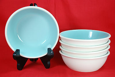 "5 Taylor Smith CHATEAU BUFFET BOWLS  6"" Turquoise & White"