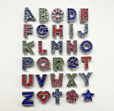 130pcs 8mm A-Z colorful Rhinestone slide letter Fit Pet Named Collar Wristbands