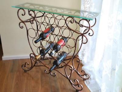Handmade Iron Elegant French Wine Rack Storage Console Glass Top CPR