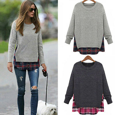 Women Round Neck Gray Knitted Pullover Jumper Long Sleeve Sweater Knitwear Top