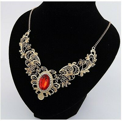 Fashion Hot Sell Luxurious Red Gem Pendant Choker Necklace Golden