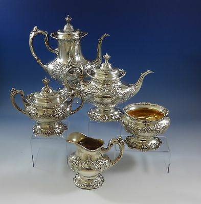 FRANCIS I BY REED & BARTON STERLING SILVER TEA SET 5-PC HAND CHASED