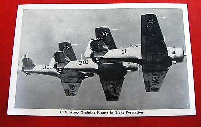 Vintage Postcard 1940s US Army Air Corps Training Airplane Photo WWII Soldier