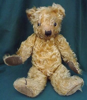 """VINTAGE 1930s 16"""" ENGLISH JOINTED MOHAIR TEDDY BEAR POSS. CHILTERN"""