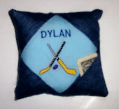 PERSONALIZED Denim Tooth Fairy Pillow  - HOCKEY!!!