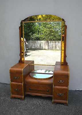ART DECO WATERFALL INLAID HAND-PAINTED VANITY WITH MIRROR #5748