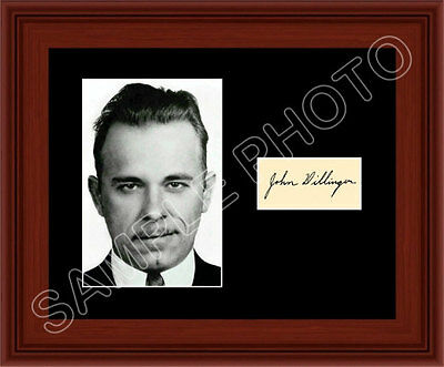 John Dillinger Matted Photo Display 8X10 Autograph Most Wanted Gangster FBI