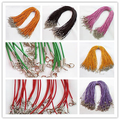 20pcs 2mm Real Genuine Leather Necklace Cord 18 inch XJ-499