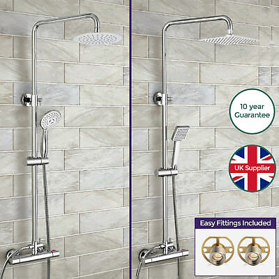Rosa Round/square Dual Control Thermostatic Shower Mixer & Easy Fitting Kit Opt