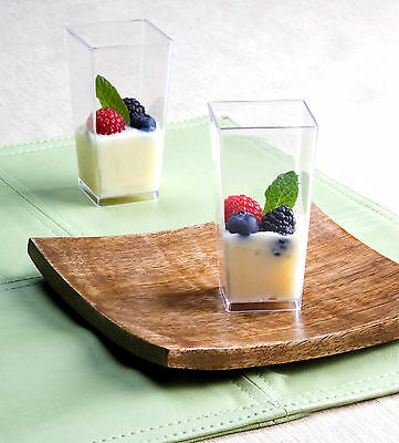 3 oz Square Tall Cube Plastic Mini Shot Glass Dessert Cup Clear 200 Party Cups