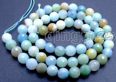 "SALE 6mm Round faceted blue natural Amazonite loose gemstone string 15""-los544"