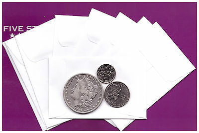 "(100)  WHITE ENVELOPES  24lb  FOR  COINS/SMALL PARTS ENVELOPES  2-1/4"" x 3-1/2"""