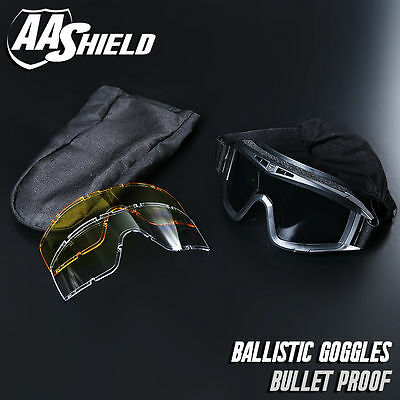AA Shield Bullet Proof Goggles Mask Military Tactical Assault Pack 3 Lens Black