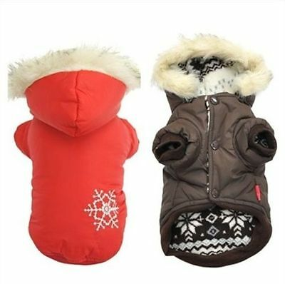 New 2014 Small Dog Pet Clothes Snowflake Hoodie Double sided Coat M Size Brown