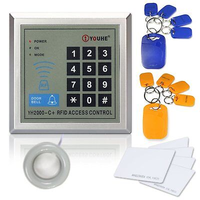 Door Access Control RFID Keypad Reader Plastic Home System EM4100 + ID Cards