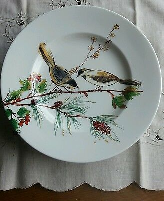 """SET OF 4 NEW Lenox WINTER SONG Accent Luncheon 9.5"""" Plates-Christmas Birds"""