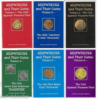 SHIPWRECKS AND THEIR COINS (6-volume set) by Ernie Richards (2006-14) Collection