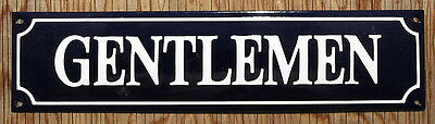 CLASSIC ENAMEL 'GENTLEMAN' TOILET SIGN. WHITE TEXT ON A BLUE BACKGROUND. 33x8cm.