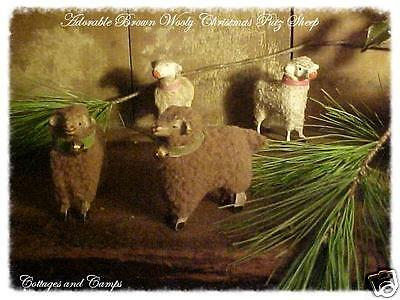 Adorable Brown Wooly Xmas Putz Sheep Stick Legs Bell Primitive Vtg Antique Style