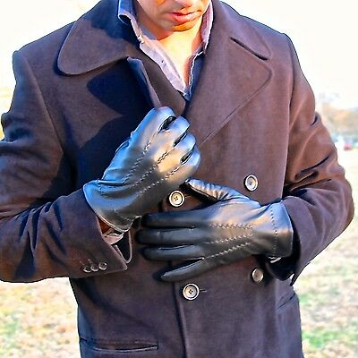 NEW!!! Classic Men's 100% Genuine Leather Lambskin Gloves Black