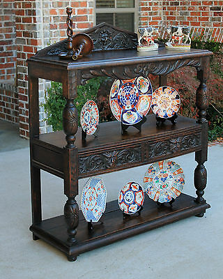 Antique French Dark Oak Gothic 3-Tier Sideboard Server Buffet 19th Century