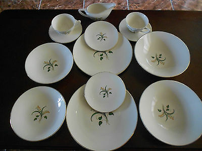 ANTIQUE KNOWLES FORSYTHIA GOLD RIM CHINA SET FOR TWO