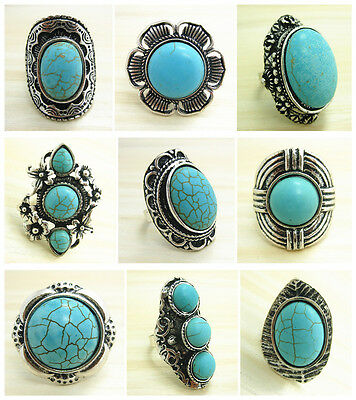 Wholesale Lot 5pcs Vintage Tibet Silver P Assorted Big turquoise tribe Rings