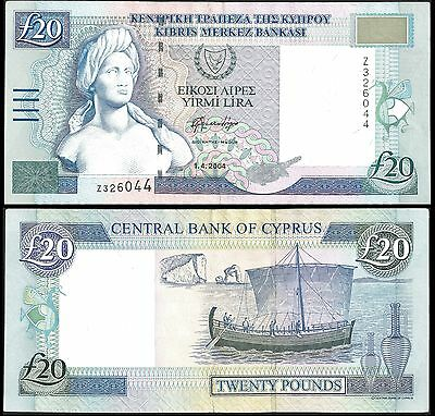 Cyprus 20 POUNDS 2004 P 63c F+ REPLACEMENT Z