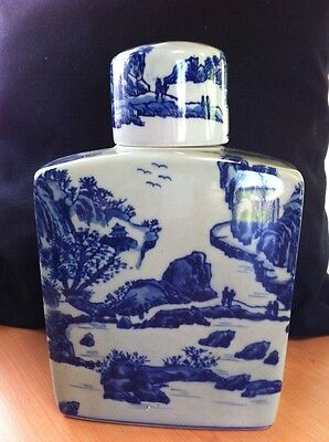 Antique/vintage Chinese Square Jar With Cup Lid