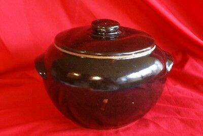 Antique/Vintage/Collectible Brown Stoneware Bean Pot Marked USA