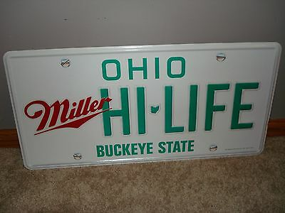 Miller High Life beer tin sign Ohio license plate tin