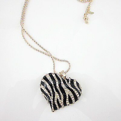 Rose Gold Plated Crystal Zebra-stripe Heart Pendant Long Necklace Sweater Chain