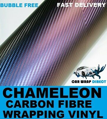 3D Carbon Fibre Vinyl 30 x 20cm A4 Sheet - Chameleon - Bubble Free Car Wrap