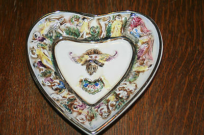 R. Capodimonte 3 Footed Heart Shaped Trinket Dish - Italy