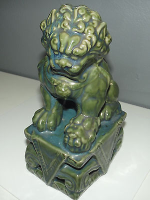 ANTIQUE Glazed Green FOO DOG Chinese Guardian Lion Pottery Statue