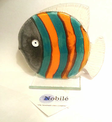 Nobile Glass Oscar Fish in Teal and Orange Stripes.  Ideal Christmas Gift