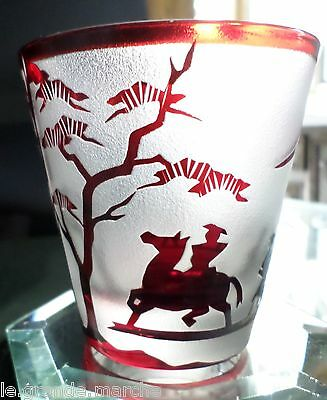 ANTIQUE BACCARAT RED CUT BACK  of ANCIENT CHINESE WARRIORS & GINGKO TREES GLASS