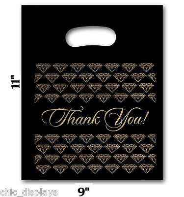 """LOT OF 100 DIE CUT PLASTIC BAGS JEWELRY BAGS SHOPPING """"Thank You"""" BAGS 9""""x11"""""""