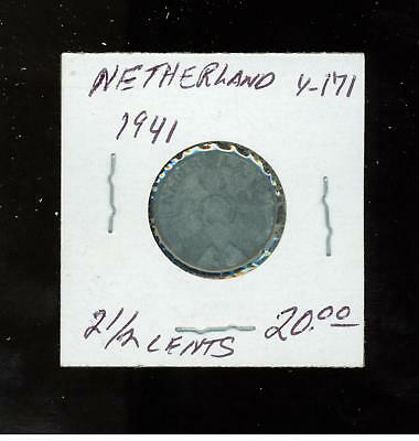 1941 Netherlands Holland coin 2 1/2 cents  Y 171